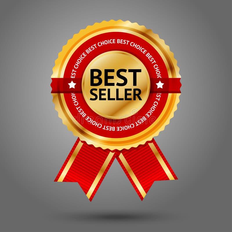 Наградной золотой и красный ярлык самого лучшего продавца с иллюстрация штока