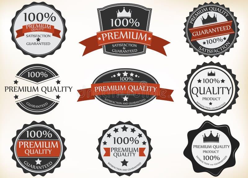 Наградные ярлыки качества и гарантии с ретро винтажным стилем бесплатная иллюстрация