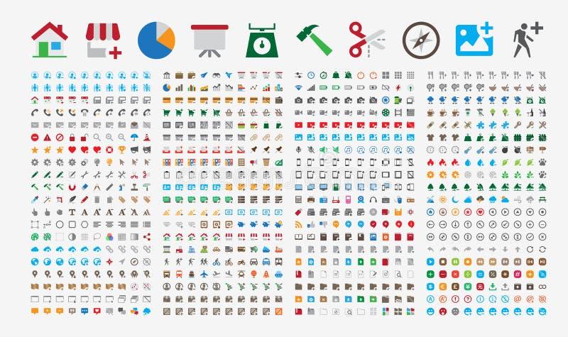 800 наградных значков Круглые углы Плоские цвета иллюстрация вектора