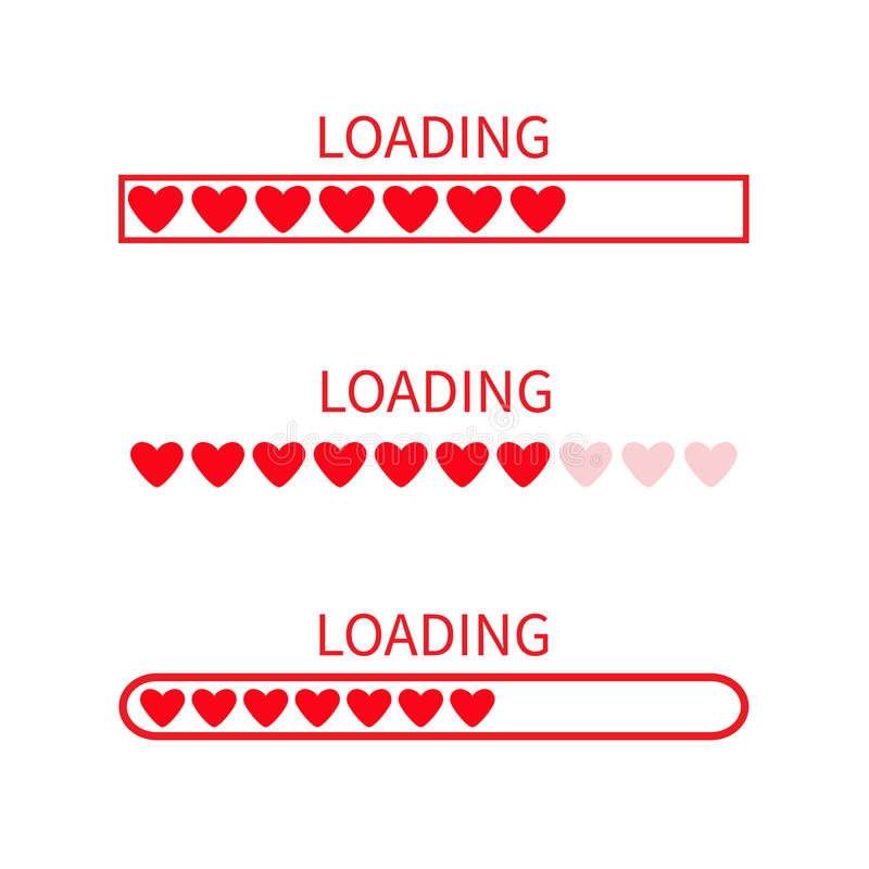 Нагружая комплект значка статусной строки прогресса Собрание влюбленности Красное сердце Смешной счастливый элемент дня валентино иллюстрация вектора