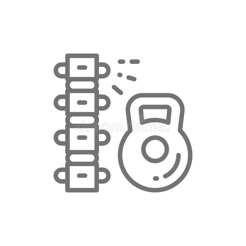 Нагрузка на позвоночнике, backache, линия значок боли внизу спины иллюстрация вектора