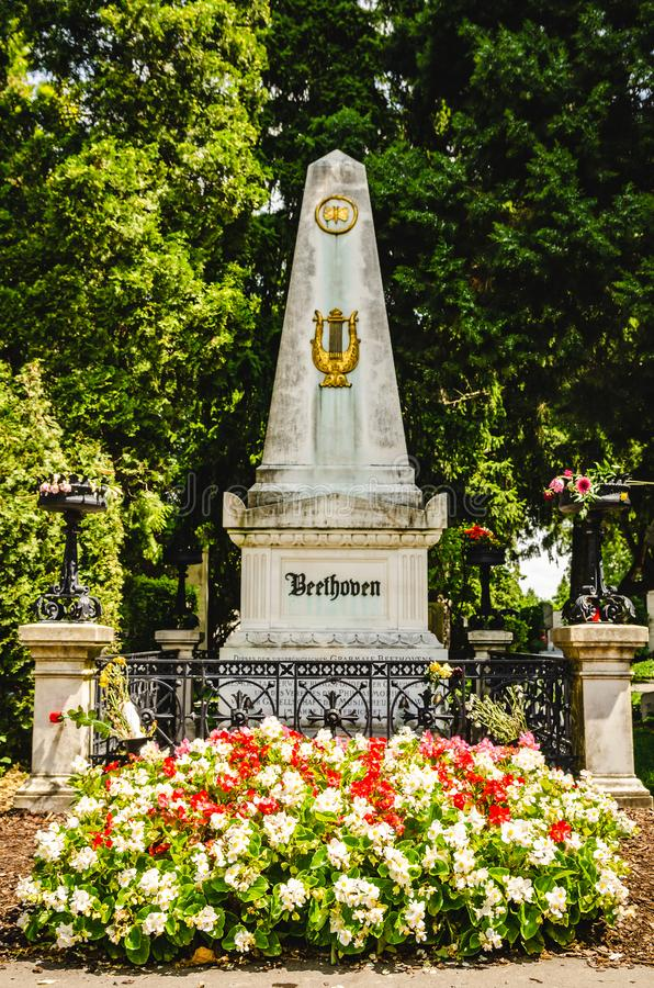 Надгробная плита Бетховен в кладбище Вены центральном стоковые изображения