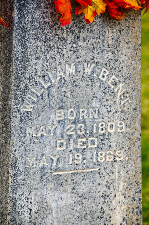 Надгробная плита Вильяма согнула стоковые изображения