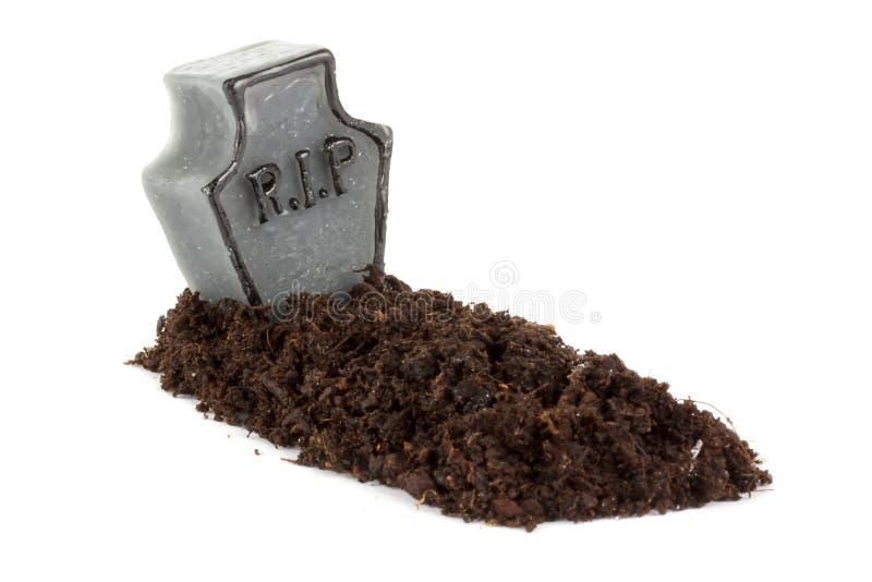 Надгробная плита Halloween на белизне стоковые изображения rf