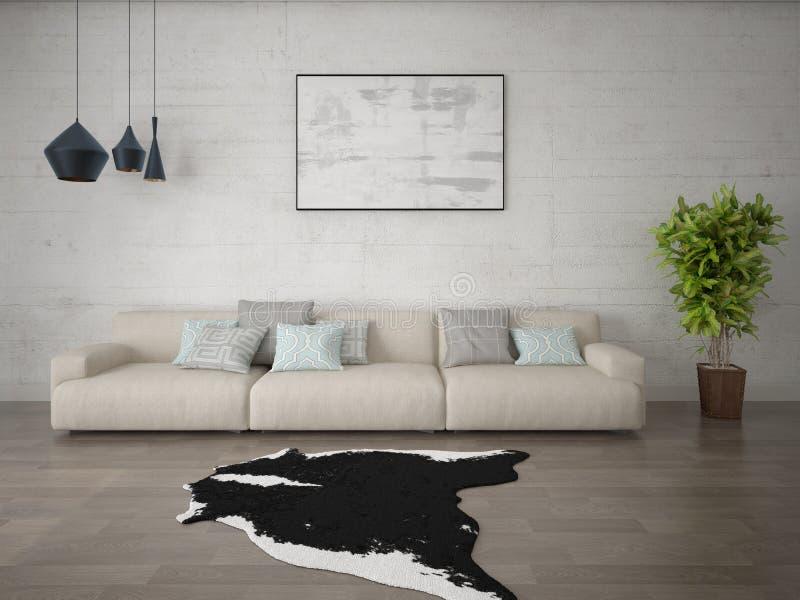 Наденьте идеальную гостиную с стильным оригинальным диваном стоковое изображение