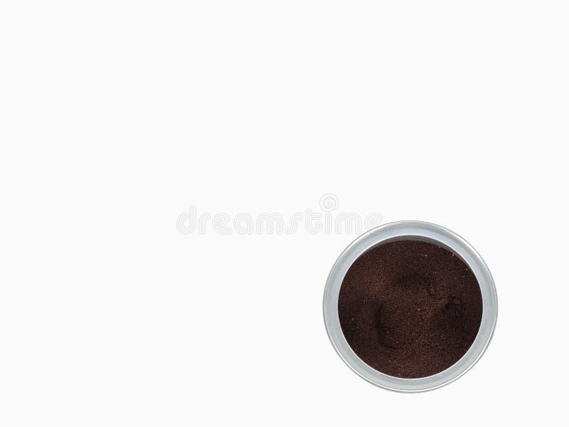 Надземный взгляд открытой чонсервной банкы кофе стоковая фотография rf