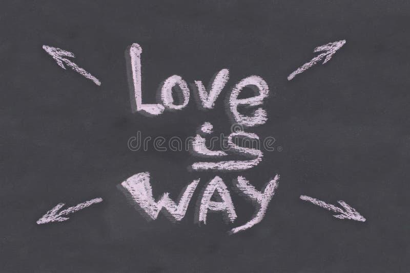 Надпись плаката меловая на шифере Любовь стрелка направления основы знамени Wai стоковое фото