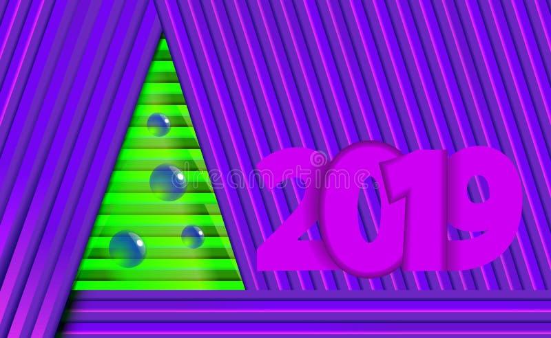 Надпись предпосылка 2019 Нового Года пурпурная и фиолетовая рождества с зеленым деревом от прокладок и орнаментов от шариков дере стоковая фотография