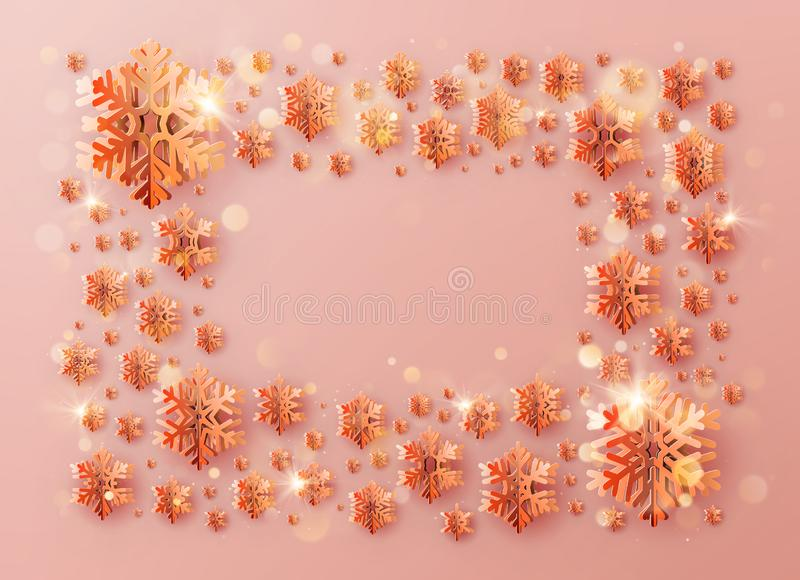 Надпись рамки шаблона рождества украшенная со снежинками теплого цвета бумажными 10 eps бесплатная иллюстрация