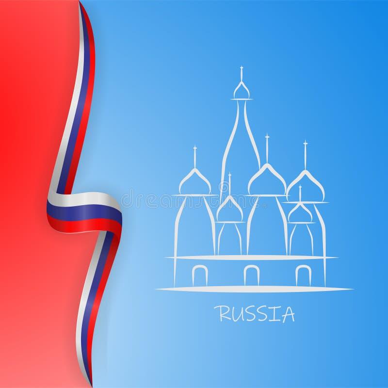 Надпись Россия Москва Кремль иллюстрации и собор базиликов St на предпосылке с флагом России вектор иллюстрация вектора