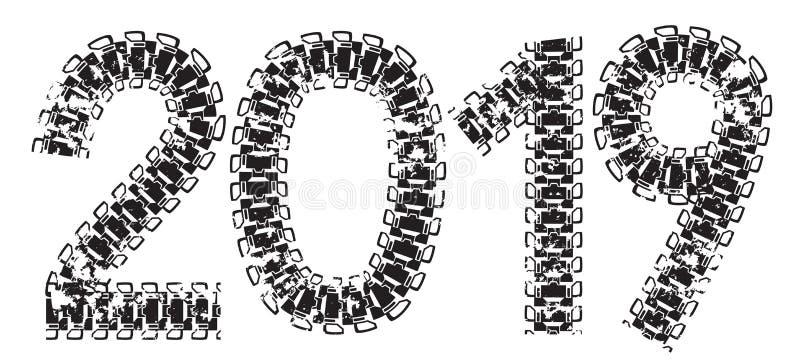 надпись 2019 сделанная от следов танка и трактора иллюстрация штока