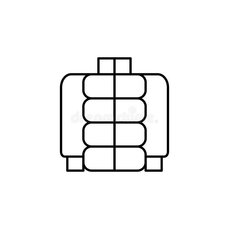 надутый значок куртки Элемент значка одежд для передвижных apps концепции и сети Тонкую линию дунутый значок куртки можно использ иллюстрация штока