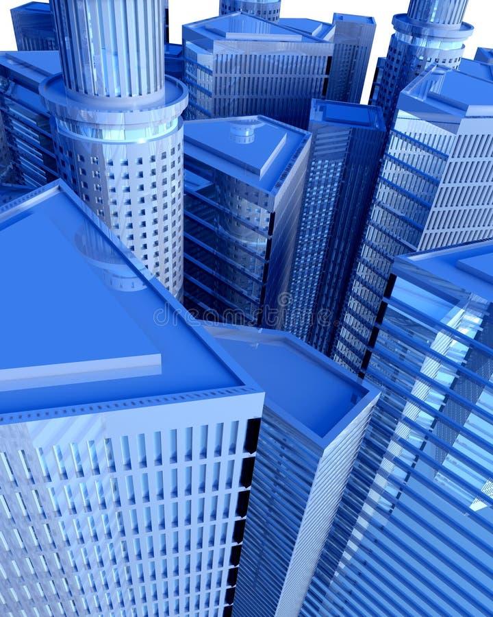над городом цифровым иллюстрация вектора