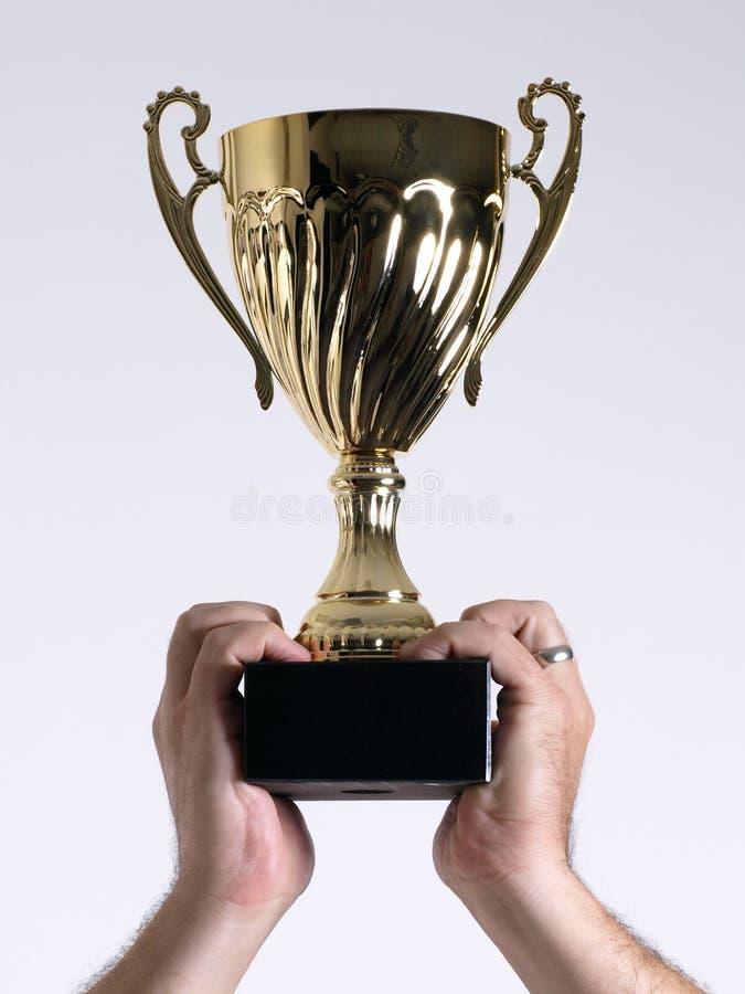 над держат головкой, котор трофей стоковые изображения rf