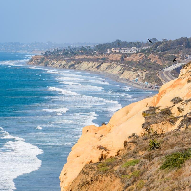 Над запасом и пляжем государства сосен Torrey стоковые фото