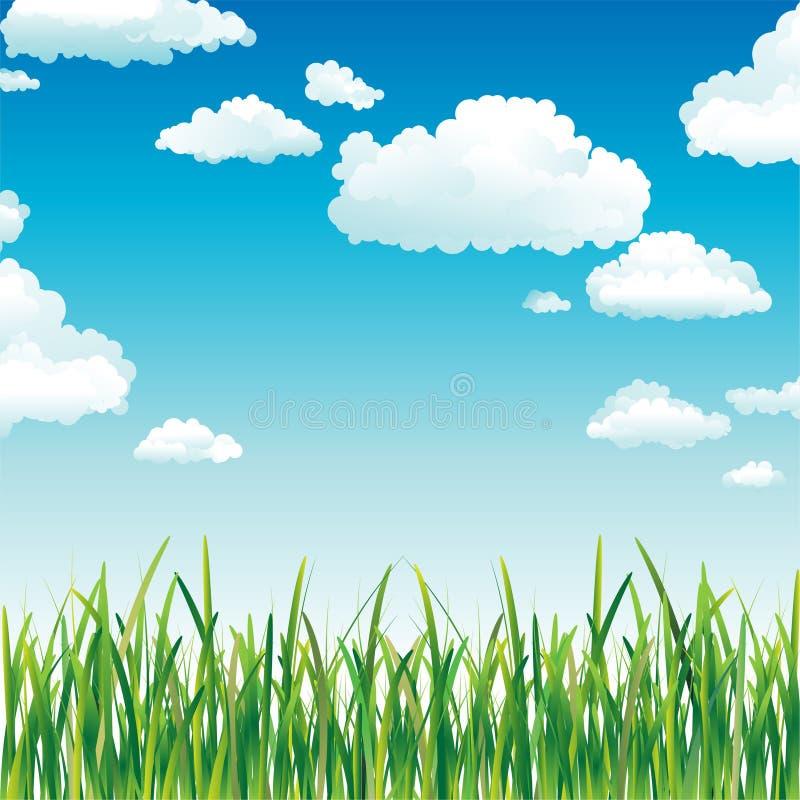 над небом зеленого цвета травы облаков иллюстрация штока