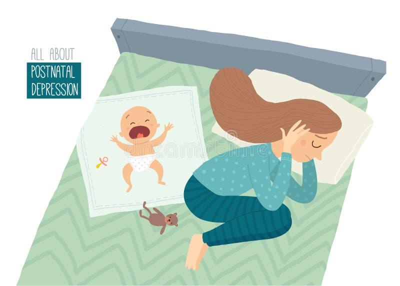 нажатие postpartum Посленатальная депрессия Подавленная молодая женщина лежа на кровати с плача младенцем бесплатная иллюстрация