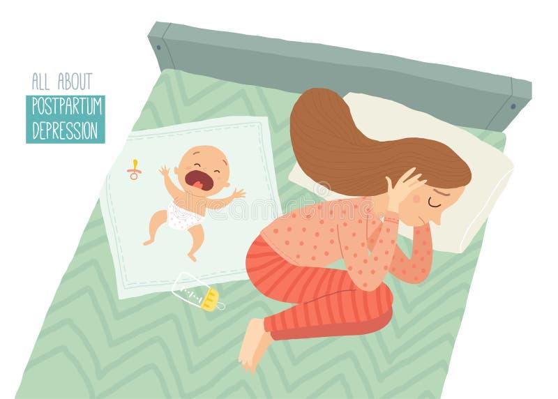 нажатие postpartum Посленатальная депрессия Син младенца s Иллюстрация eps 10 вектора шаржа нарисованная рукой изолированная даль иллюстрация штока