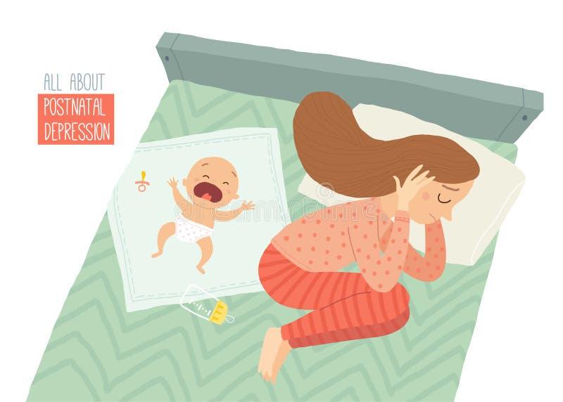 нажатие postpartum Посленатальная депрессия Син младенца s Иллюстрация eps 10 вектора шаржа нарисованная рукой изолированная даль бесплатная иллюстрация