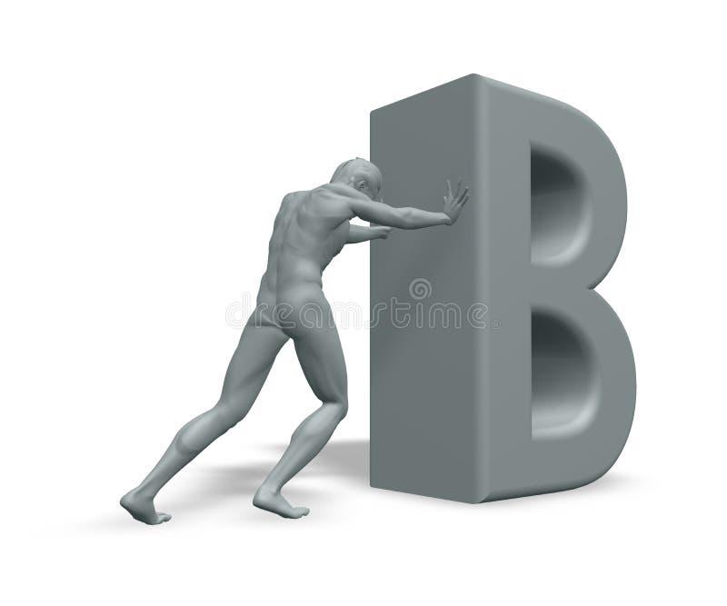 нажимы человека письма b иллюстрация вектора