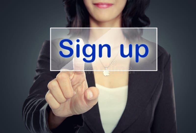 Download Нажим женщины для того чтобы подписать вверх кнопку Стоковое Фото - изображение насчитывающей икона, соединение: 37929124