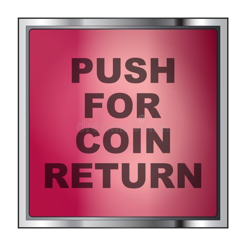 Нажмите для кнопки возвращения монетки на белизне бесплатная иллюстрация