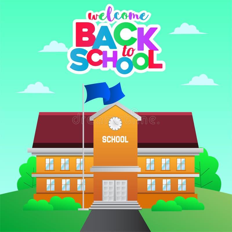 Назад в школу со стилем мультфильма школьного здания красочным от вида спереди иллюстрация вектора