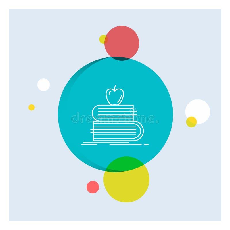 назад в школу, школа, студент, книги, линия предпосылка яблока белая круга значка красочная бесплатная иллюстрация