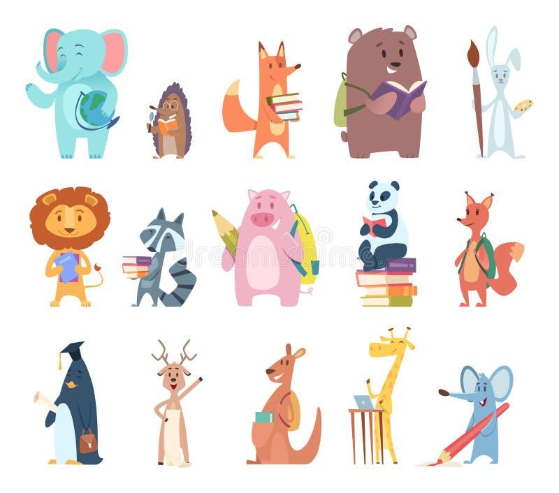 Назад к животным школы Молодые смешные характеры зоопарка обучают вектор книг рюкзака белки лисы медведя кролика слона деталей иллюстрация вектора