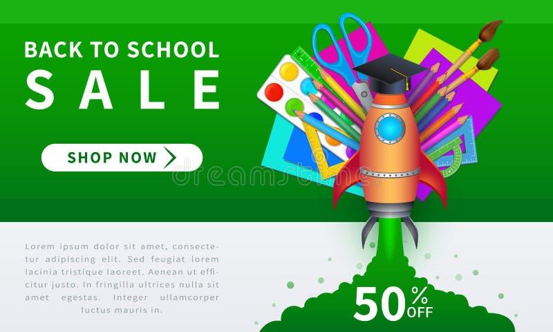 Назад к знамени вектора продажи школы со стартом ракеты, крышкой градации и красочными реалистическими школьными принадлежностями иллюстрация штока