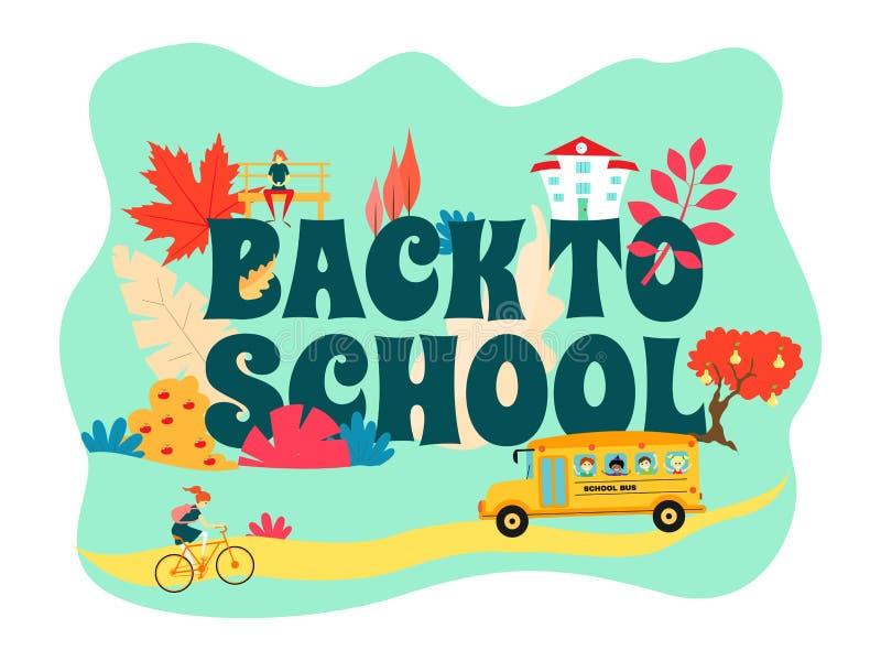 Назад к знамени школы на голубой предпосылке Езды школьного автобуса на дороге, девушка едут велосипед Девушка на стенде Colorfu иллюстрация вектора