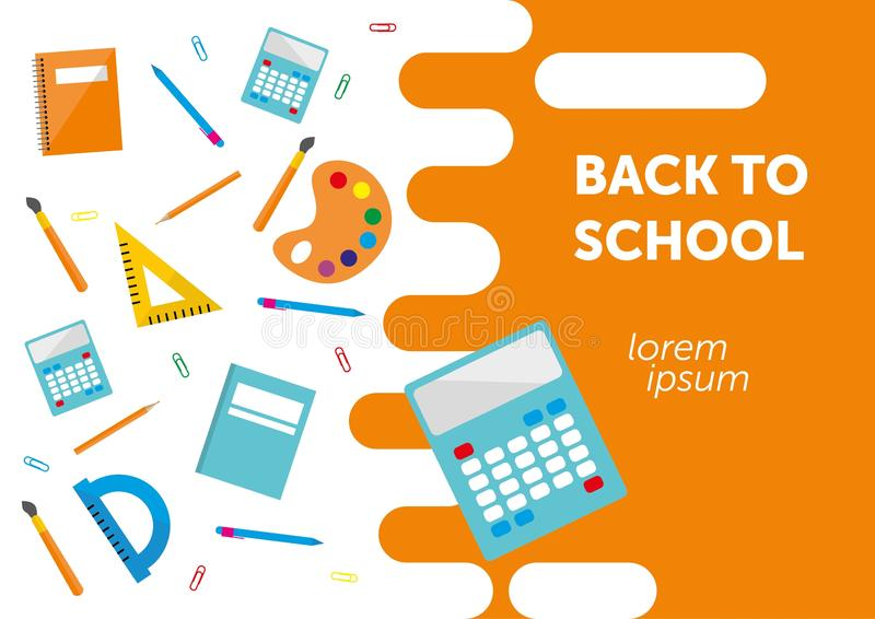 Назад к знамени школы, плакат, плоский дизайн красочный, backgound вектора интернет-страница бесплатная иллюстрация