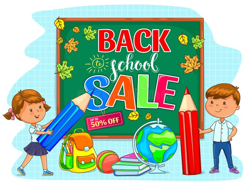Назад к иллюстрации продажи школы с школьным правлением и милыми детьми бесплатная иллюстрация