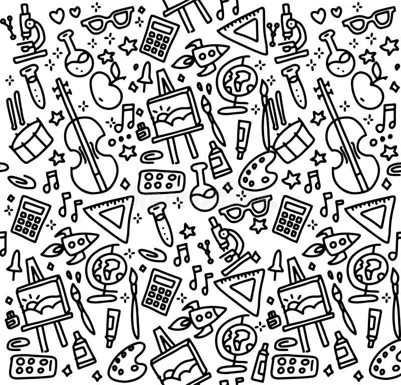 Назад к картине вектора школы безшовной Хороший для дизайна текстильной ткани, упаковочной бумаги и обоев вебсайта r иллюстрация штока