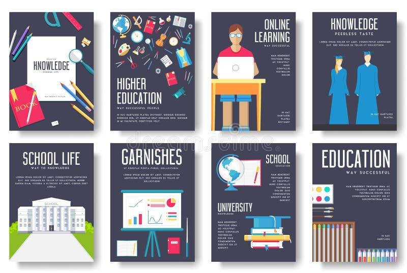 Назад к комплекту информационных карт школы Шаблон flyear, кассеты студента, плакаты, обложка книги, знамена Образование в объеме иллюстрация штока