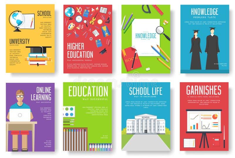 Назад к комплекту информационных карт школы Шаблон flyear, кассеты студента, плакаты, обложка книги, знамена Образование в объеме бесплатная иллюстрация
