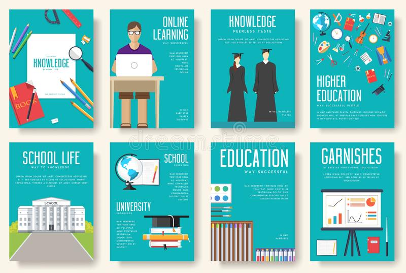 Назад к комплекту информационных карт школы Шаблон flyear, кассеты студента, плакаты, обложка книги, знамена Образование в объеме иллюстрация вектора