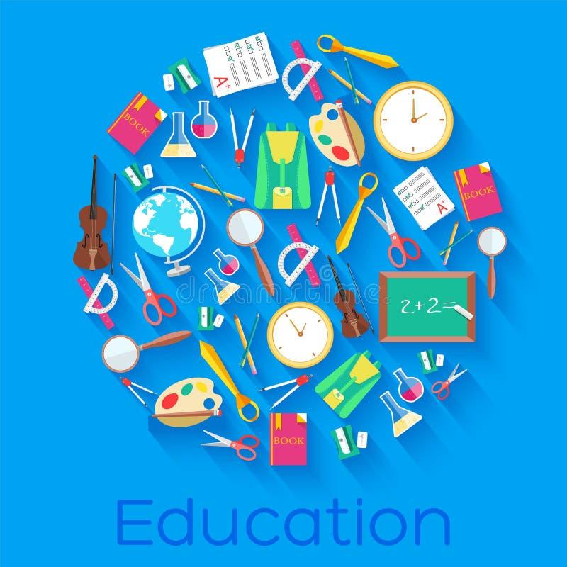 Назад к концепции значков круга школы плоской Дизайн иллюстрации вектора бесплатная иллюстрация