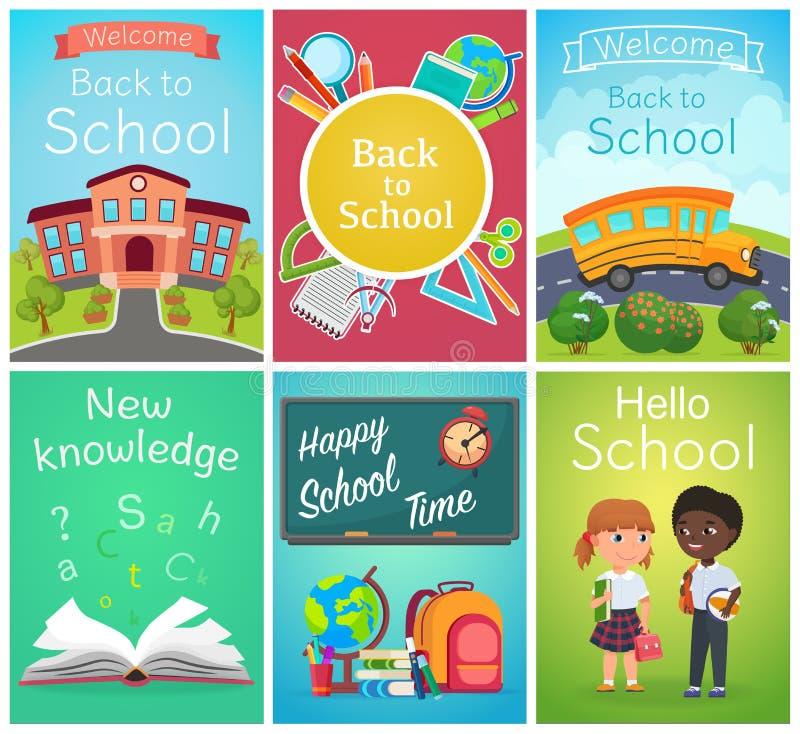 Назад к набору дизайна вектора шаблонов знамени карты школы со зрачками и школьными принадлежностями Летчик темы школы, журналы иллюстрация штока