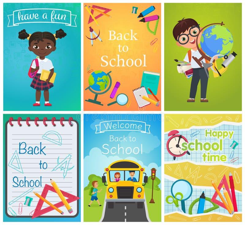 Назад к набору страниц шаблона карты школы Шаблон образования со зрачками, школьными принадлежностями и автобусом летчик, журналы бесплатная иллюстрация