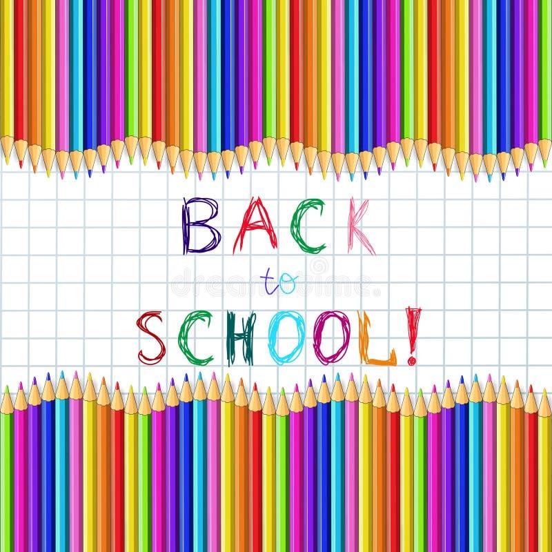 Назад к надписи школы схематичной на странице тетради с рамкой карандашей волнистой иллюстрация вектора