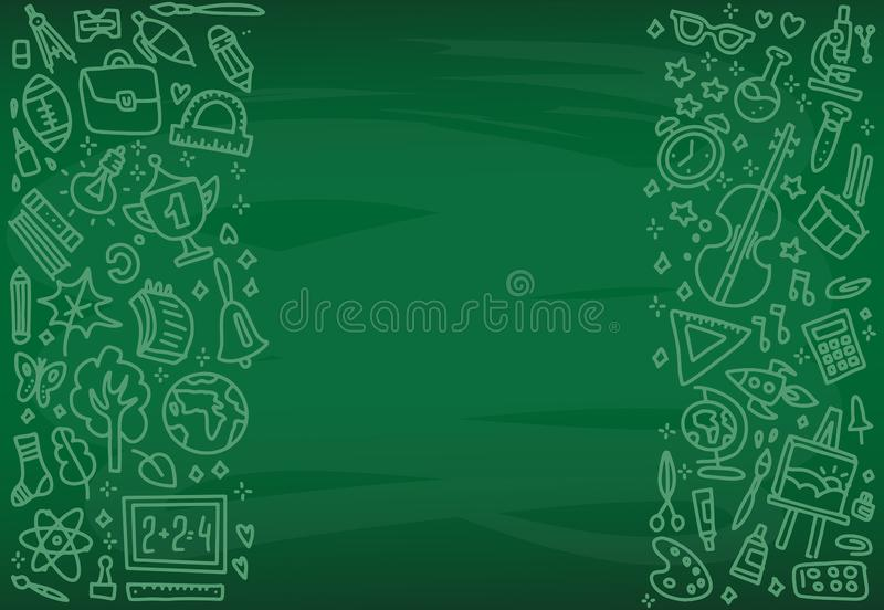 Назад к плакату школы со значками школы doodle на зеленой доске Объекты школы вручают нарисованный в меле на классн классном Кажд иллюстрация штока