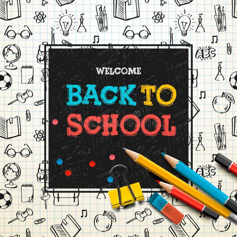 Назад к плакату школы, схематичная тетрадь doodles с литерностью, иллюстрацией вектора иллюстрация штока