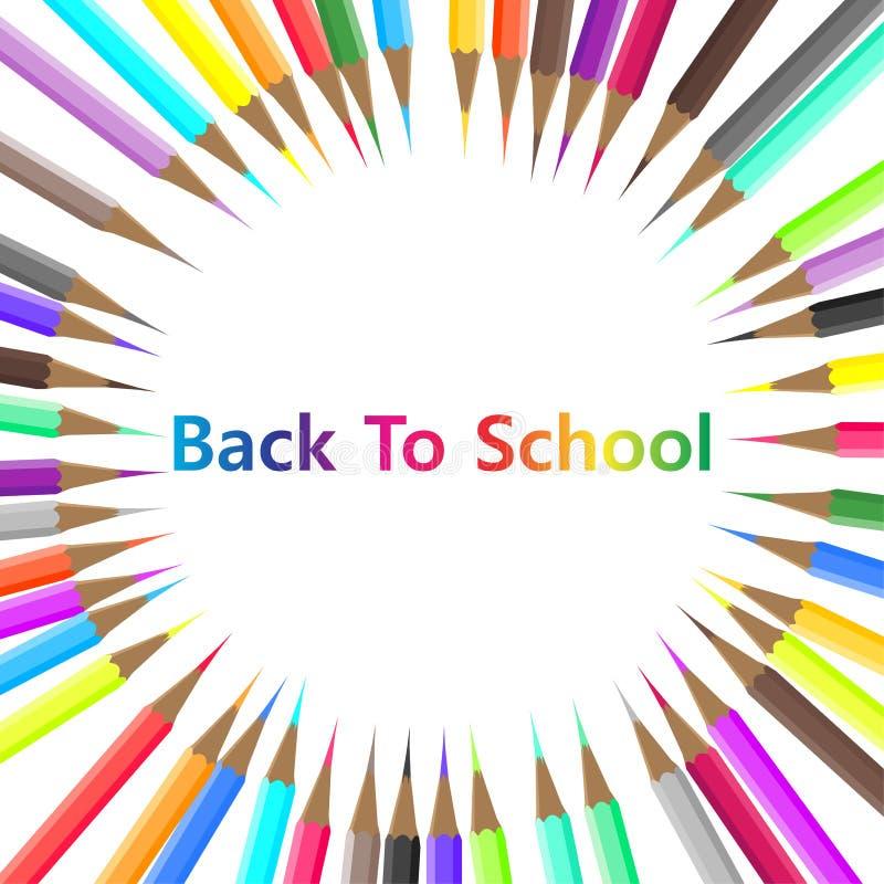 Назад к предпосылке оборудования объекта карандаша цвета школы Изолированный вектором графический инструмент шаржа канцелярских п иллюстрация штока