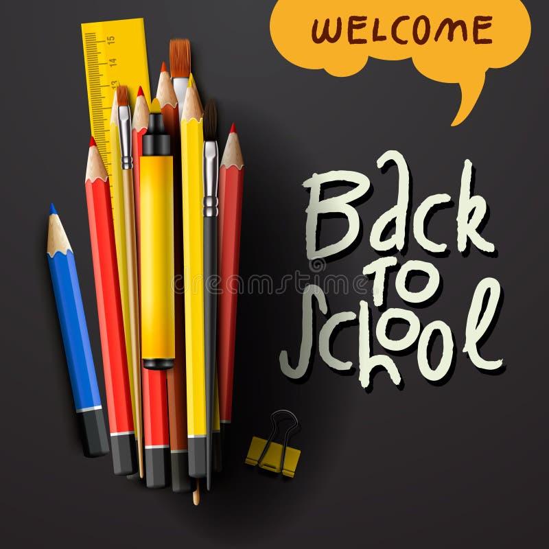 Назад к словам названия школы с реалистическими деталями школы с покрашенными карандашами, ручкой и правителем в черной предпосыл иллюстрация вектора