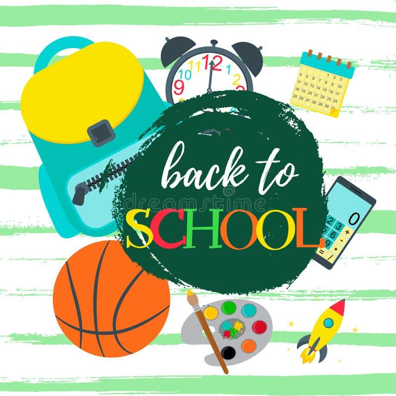 Назад к тексту школы Знамя вектора, дизайн карты плаката с рюкзаком, будильником, баскетболом, калькулятором, календарем и иллюстрация штока