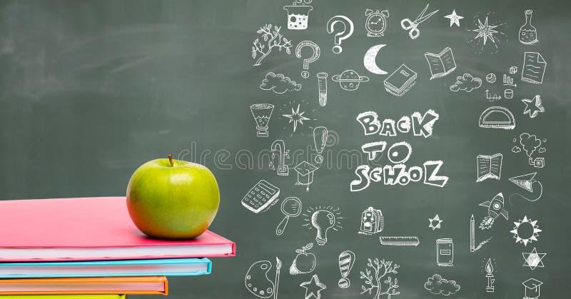 Назад к чертежу школьного образования на классн классном для школы с яблоком стоковые изображения rf