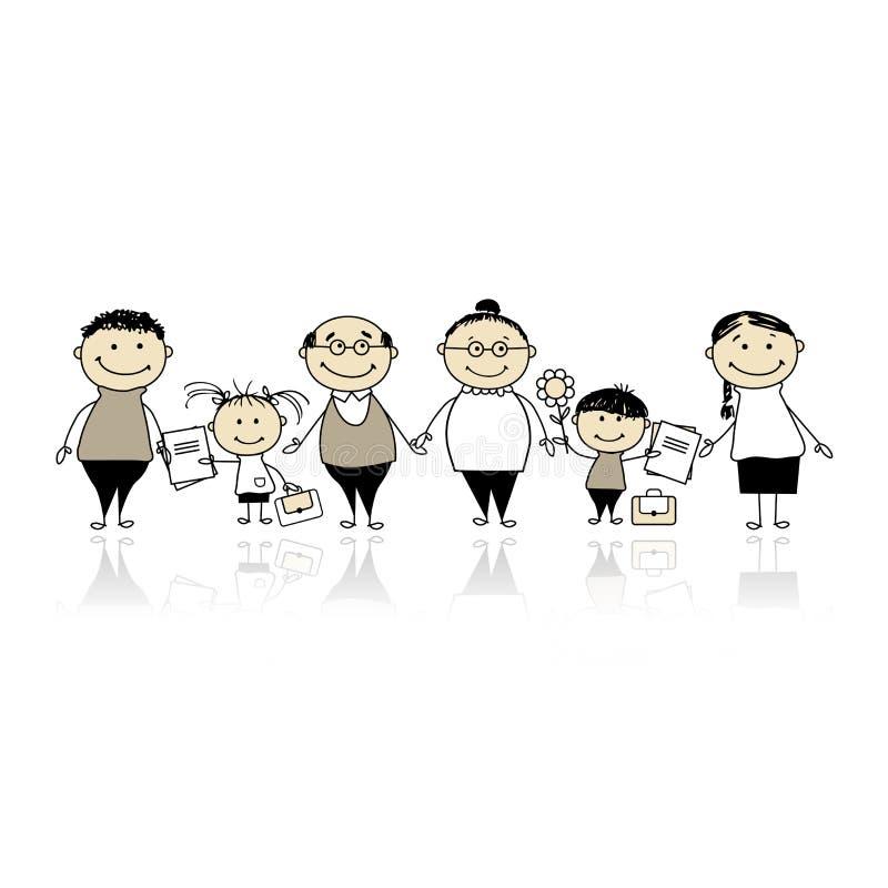 Назад к школе, дети с родителями бесплатная иллюстрация