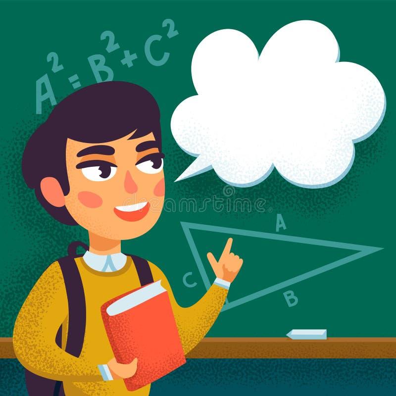 Назад к школе, зрачок мальчика стоя перед доской мела с иллюстрацией вектора космоса экземпляра плоской иллюстрация штока