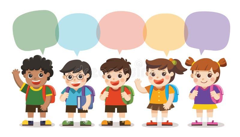 Назад к школе, милые дети идут к школе с рамкой речи иллюстрация вектора